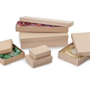 100% Embossed Jewelry Boxes - Kraft Embossed Jewelry Assortment 6 Sizes w/ Fiber (72 boxes)