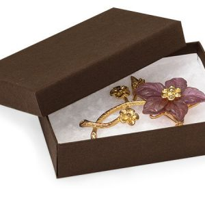 100% Embossed Jewelry Boxes - 3-3/4x2-1/2x1 Chocolate Kraft Embossed w/ Non-tarnish Cotton (100 boxes)