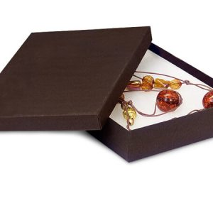 "100% Embossed Jewelry Boxes - 7x5x1-1/4"" Chocolate Jewelry Boxes w/ non-tarnish Cotton (100 boxes)"