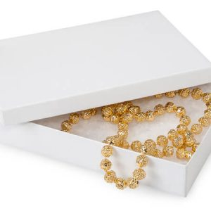 "100% Embossed White Jewelry Boxes - 7x5x1-1/4"" White Kraft Jewelry Boxes with Eco Fiber (100 boxes)"