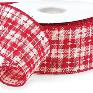 """Red and White Plaid Ribbon 2-1/2""""x20 yds 100% Acrylic (4 Rolls)"""