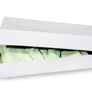 """Recycled White Apparel Boxes - White Economy Apparel 19x12x3"""" 100% Recycled ~ 2 Piece Pop Up Box (50 boxes)"""