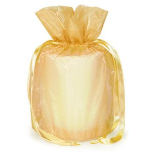 "Gold Organza Bags 6-1/2x4x7"" Drawstrings With Round Bottom (8 Packs; 12 Bags Per Pack)"