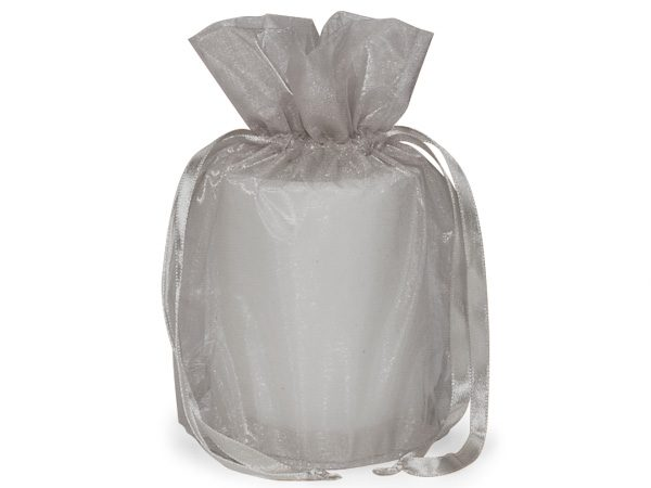 """Silver Organza Bags 6-1/2x4x7"""" Drawstrings With Round Bottom (8 Packs; 12 Bags Per Pack)"""