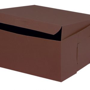"Bakery Boxes - 10x10x5"" Chocolate Bakery Boxes 1 - piece Lock Corner Box - (100 Per Pack)"