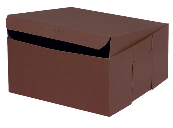 """Bakery Boxes - 10x10x5"""" Chocolate Bakery Boxes 1 - piece Lock Corner Box - (100 Per Pack)"""