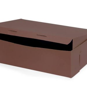 "Bakery Boxes - 14x10x4"" Chocolate Bakery Boxes 1 - piece Lock Corner Box - (100 Per Pack)"