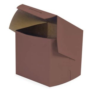"Bakery Boxes - 4x4x4"" Chocolate Bakery Boxes 1 - piece Lock Corner Box - (200 Per Pack)"