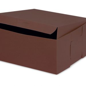 "Bakery Boxes - 6x6x3"" Chocolate Bakery Boxes 1 - piece Lock Corner Box - (250 Per Pack)"