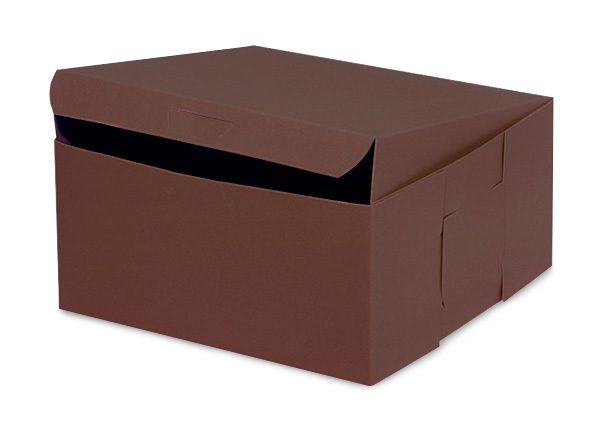 """Bakery Boxes - 6x6x3"""" Chocolate Bakery Boxes 1 - piece Lock Corner Box - (250 Per Pack)"""