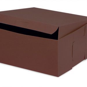 "Bakery Boxes - 7x7x4"" Chocolate Bakery Boxes 1 - piece Lock Corner Box - (200 Per Pack)"