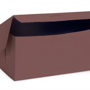 "Bakery Boxes - 8x4x4"" Chocolate Bakery Boxes 1 - piece Lock Corner Box - (200 Per Pack)"