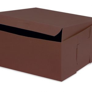 "Bakery Boxes - 8x8x4"" Chocolate Bakery Boxes 1 - piece Lock Corner Box - (200 Per Pack)"