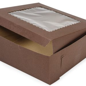 "Bakery Boxes - 10x10x4"" Chocolate Window Bakery 1 - piece Lock Corner Scallop Window - (100 Per Pack)"