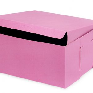 "Bakery Boxes - 10x10x5"" Pink Bakery Boxes 1 - piece Lock Corner Box - (100 Per Pack)"