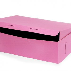 """Bakery Boxes - 14x10x4"""" Pink Bakery Boxes 1 - piece Lock Corner Box - (100 Per Pack)"""