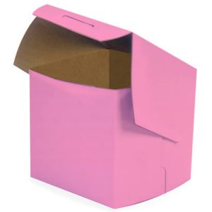 "Bakery Boxes - 4x4x4"" Pink Bakery Boxes 1 - piece Lock Corner Box - (200 Per Pack)"