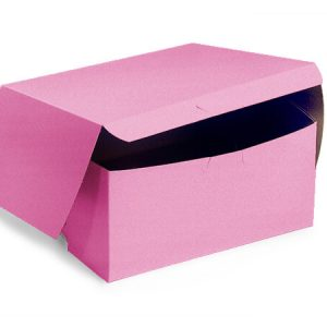 "Bakery Boxes - 6x6x3"" Pink Bakery Boxes 1 - piece Lock Corner Box - (250 Per Pack)"