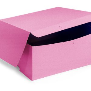 "Bakery Boxes - 7x7x4"" Pink Bakery Boxes 1 - piece Lock Corner Box - (200 Per Pack)"