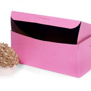 "Bakery Boxes - 8x4x4"" Pink Bakery Boxes 1 - piece Lock Corner Box - (200 Per Pack)"