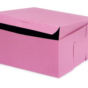 "Bakery Boxes - 8x8x4"" Pink Bakery Boxes 1 - piece Lock Corner Box - (200 Per Pack)"