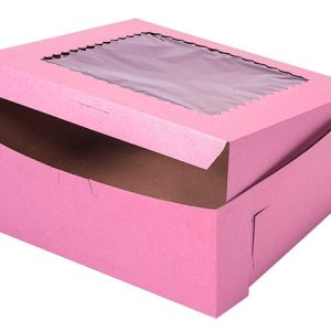 "Bakery Boxes - 10x10x4"" Pink Window Bakery Boxes 1 - piece Lock Corner Scallop Windo - (100 Per Pack)"