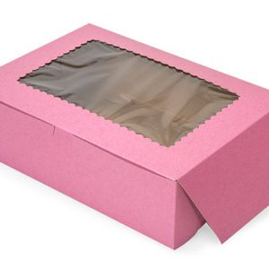 "Bakery Boxes - 14x10x4"" Pink Window Bakery Boxes 1 - piece Lock Corner Scallop Window - (100 Per Pack)"
