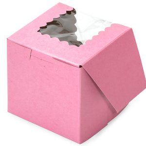 "Bakery Boxes - 4x4x4"" Pink Window Bakery Boxes 1 - piece Lock Corner Scallop Window - (200 Per Pack)"