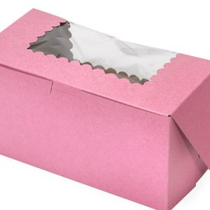 """Bakery Boxes - 8x4x4"""" Pink Window Bakery Boxes 1 - piece Lock Corner Scallop Window - (200 Per Pack)"""