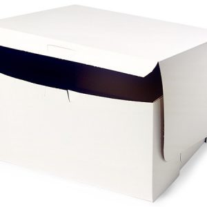 "Bakery Boxes - 10x10x5"" White Bakery Boxes 1 - piece Lock Corner Box - (100 Per Pack)"