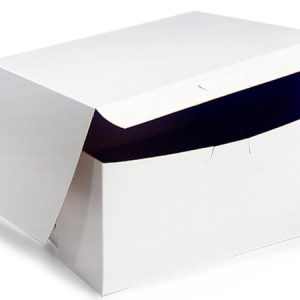 "Bakery Boxes - 12x12x5"" White Bakery Boxes 1 - piece Lock Corner Box - (100 Per Pack)"