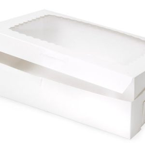 "Bakery Boxes - 10x7x2 - 1/2"" White Window Bakery Box 1 - piece Lock Corner Scallop Window - (100 Per Pack)"