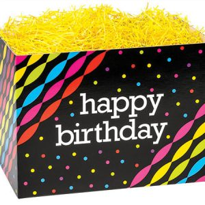 """Special Occasion Baskets Boxes - large_Birthday Streamers Basket Boxes 10-1/4x6x7-1/2"""" - (2 Packs; 6 Boxes Per Pack)"""