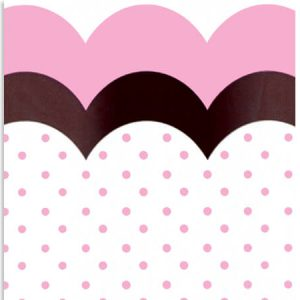 "All Occasion Print Cello Bags - Flounce Chocolate & Pink 3 -1/2x2x7 -1/2"" Cello Bags 1.2 mil (3 Packs; 100 Bags Per Pack)"