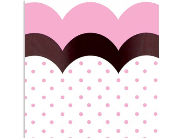 """All Occasion Print Cello Bags - Flounce Chocolate & Pink 4x2x9""""Cello Bags 1.2 mil (3 Packs; 100 Bags Per Pack)"""