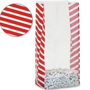 "Christmas Print Cello Bags - Candy Stripe Red 5x3x11"" Cello Bags 1.2 mil (2 Packs; 100 Bags Per Pack)"