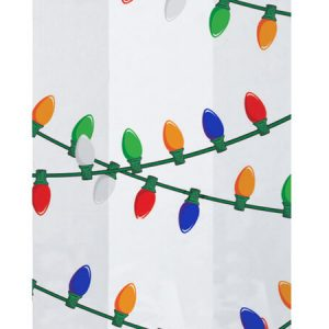 """Christmas Print Cello Bags - Hanging Lights 5x3x11"""" Cello Bags 1.2 mil (2 Packs; 100 Bags Per Pack)"""