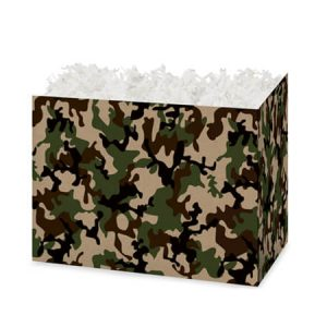"All Occasion Basket Boxes - Small Camo Kraft Basket Boxes 6-3/4x4x5"" - (5 Packs; 6 Boxes Per Pack)"