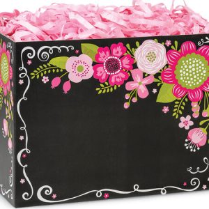 "All Occasion Basket Boxes - large_Chalkboard Flowers Basket Boxes 10-1/4x6x7-1/2"" - (2 Packs; 6 Boxes Per Pack)"