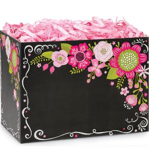 "All Occasion Basket Boxes - Small Chalkboard Flowers Basket Boxes 6-3/4x4x5"" - (5 Packs; 6 Boxes Per Pack)"