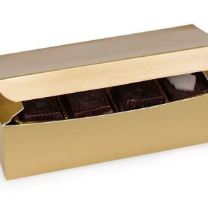 "1 Pc Candy Boxes - 1 lb Gold Candy Boxes 7x3 - 3/8x2"" - (2 Packs; 100 Per Pack)"