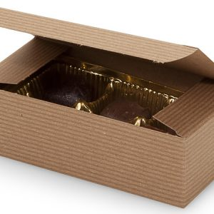 "1 Pc Candy Boxes - 1/2 lb Kraft Pinstripe Candy Boxes 5 - 1/2x2 - 3/4 X1 - 3/4"" - 100% Recycled - (2 Packs; 100 Per Pack)"