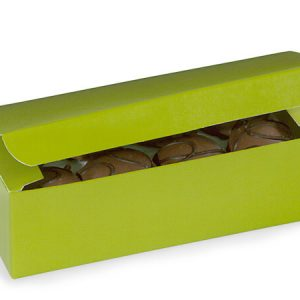 "1 Pc Candy Boxes - 1 lb Leaf Green Candy Boxes 7x3 - 3/8x2"" - (2 Packs; 100 Per Pack)"