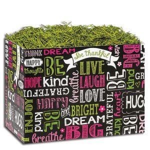 """All Occasion Basket Boxes - Small Chalkboard Sentiments Basket Boxes 6-3/4x4x5"""" - (5 Packs; 6 Boxes Per Pack)"""