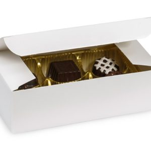 "1 Pc Candy Boxes - 1/2 lb White Gloss Candy Box 5 - 1/2x2 - 3/4x1 - 3/4"" - (2 Packs; 100 Per Pack)"