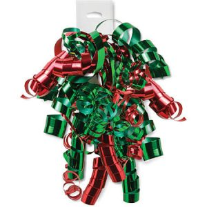 Curly Gift Bows - Metallic Green & Red Curly Bows 12 Strands on Hang Tab (6 Packs; 12 Bows Per Pack)