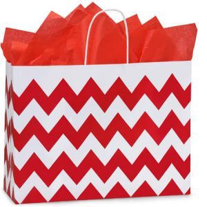 "Christmas Gift Bags - Vogue Chevron Stripe Red 100% Recycled Mini Pk 16x6x12-1/2"" (2 Packs; 25 Bags Per Pack)"