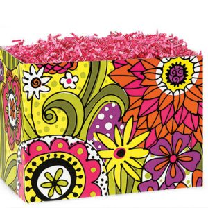 "All Occasion Basket Boxes - Small Doodle Garden Basket Boxes 6-3/4x4x5"" - (5 Packs; 6 Boxes Per Pack)"