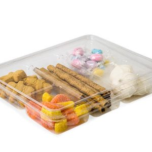 """Clear Food Containers - 5 Cavity Decorator Tray Clamshell 11x9 - 1/2x1 - 3/8"""" - (100 Per Pack)"""