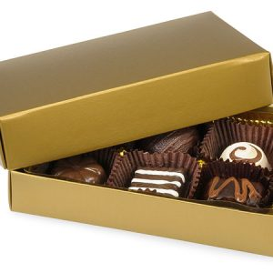 "2 Pc Candy Boxes - 1/4 lb Gold Candy Boxes - 1 Layer 2 Pc. 5 - 1/4x2 - 15/16x1 - 1/8"" (100 boxes)"